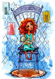 Muchacha con una relación una silla Ilustración de la acuarela Fotografía de archivo libre de regalías