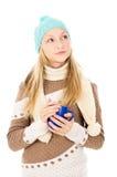 Muchacha con una taza Imagen de archivo