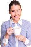 Muchacha con una taza de té Imagen de archivo libre de regalías