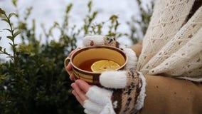 Muchacha con una taza de té al aire libre en invierno almacen de metraje de vídeo