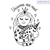 Muchacha con unicornio libre illustration