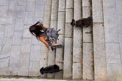 Muchacha con viajar de dos perros fotografía de archivo libre de regalías