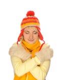 Muchacha congelada en la ropa del invierno Imagen de archivo libre de regalías