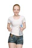 Muchacha corriente con la botella de agua Fotografía de archivo libre de regalías