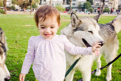 Muchacha curiosa con un perro Imagenes de archivo