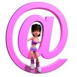 muchacha 3d con símbolo de la dirección de correo electrónico Fotografía de archivo libre de regalías