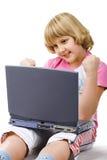 muchacha de 10 años con el cuaderno Imagenes de archivo
