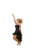 Muchacha de baile en el vestido de noche negro aislado encendido Fotos de archivo libres de regalías