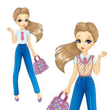 Muchacha de Bisness en pantalones azules ilustración del vector