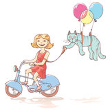 Muchacha de ciclo con el gato Imagenes de archivo