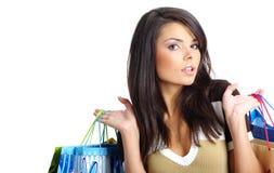 Muchacha de compras atractiva Fotos de archivo