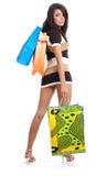 Muchacha de compras atractiva Imagen de archivo libre de regalías