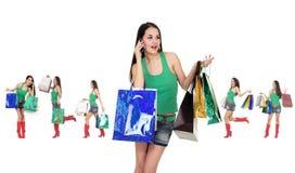 Muchacha de compras con el bolso Foto de archivo libre de regalías