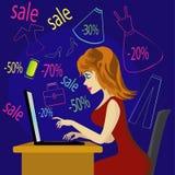 Muchacha de compras con el ordenador portátil Fotografía de archivo