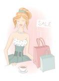 Muchacha de compras con los bolsos de compras Imagen de archivo