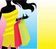 Muchacha de compras de la silueta libre illustration