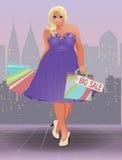 Muchacha de compras del tamaño extra grande, vector Imagen de archivo libre de regalías
