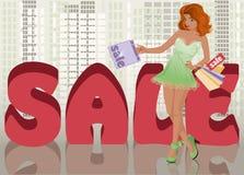 Muchacha de compras en ciudad Imagen de archivo