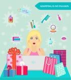 Muchacha de compras en línea Ella chocó por descuentos Venta Imagen de archivo
