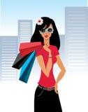 Muchacha de compras hermosa Libre Illustration