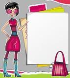 Muchacha de compras que muestra el papel ilustración del vector