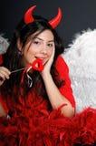 Muchacha de día de la tarjeta del día de San Valentín Foto de archivo libre de regalías