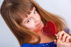 Muchacha de día de las tarjetas del día de San Valentín Imagen de archivo