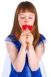 Muchacha de día de las tarjetas del día de San Valentín Fotos de archivo