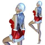 muchacha de 3d Papá Noel ilustración del vector
