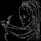 Muchacha de dibujo blanco y negro del sagitario de la muestra del zodiaco con una catapulta foto de archivo