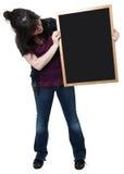 Muchacha de dieciséis años con la pizarra en blanco Imagen de archivo libre de regalías
