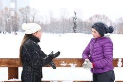 Muchacha de dos adolescentes en el fondo del blanco nevoso Fotos de archivo