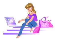 muchacha de E-compra Imagenes de archivo