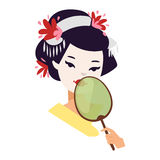 Muchacha de geisha japonesa del vector Imagen de archivo libre de regalías