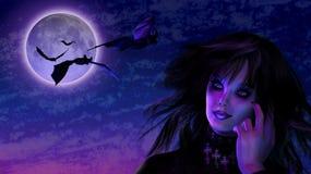 Muchacha de Goth en claro de luna con los palos stock de ilustración
