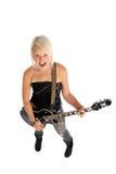 Muchacha de griterío de la mujer que toca la guitarra imagenes de archivo