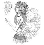 Muchacha de hadas bonita que mira el diseño de la mariposa del vuelo para el libro de colorear para el adulto stock de ilustración