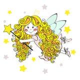 Muchacha de hadas linda en el vuelo de la corona con las estrellas Ilustración drenada mano del vector Imágenes de archivo libres de regalías