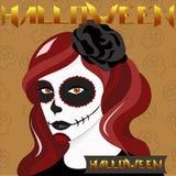Muchacha de Halloween con maquillaje del cráneo Foto de archivo libre de regalías