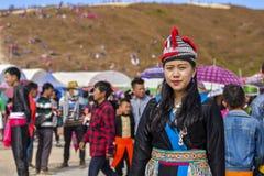 Muchacha de Hmong que se viste en Año Nuevo Fotografía de archivo libre de regalías