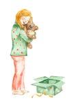 Muchacha de la acuarela con el juguete Imagen de archivo