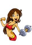 Muchacha de la aptitud con pesas de gimnasia Imagen de archivo libre de regalías