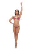 Muchacha de la aptitud del bikini en traje de baño rojo Fotos de archivo libres de regalías
