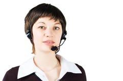 Muchacha de la atención al cliente en centro de atención telefónica Foto de archivo
