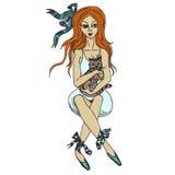 Muchacha de la bailarina con el gatito Imagen de archivo libre de regalías