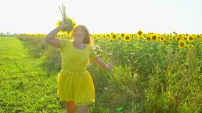 Muchacha de la belleza con el pelo rojo largo que corre en el campo amarillo del girasol, aumentando las manos Mujer feliz al air almacen de video