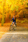Muchacha de la belleza que se relaja en parque del otoño con la bicicleta, al aire libre Imagen de archivo libre de regalías