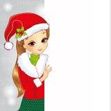 Muchacha de la belleza vestida como Santa Holding una bandera stock de ilustración