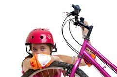 Muchacha de la bicicleta Foto de archivo libre de regalías