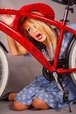 Muchacha de la bicicleta Fotografía de archivo